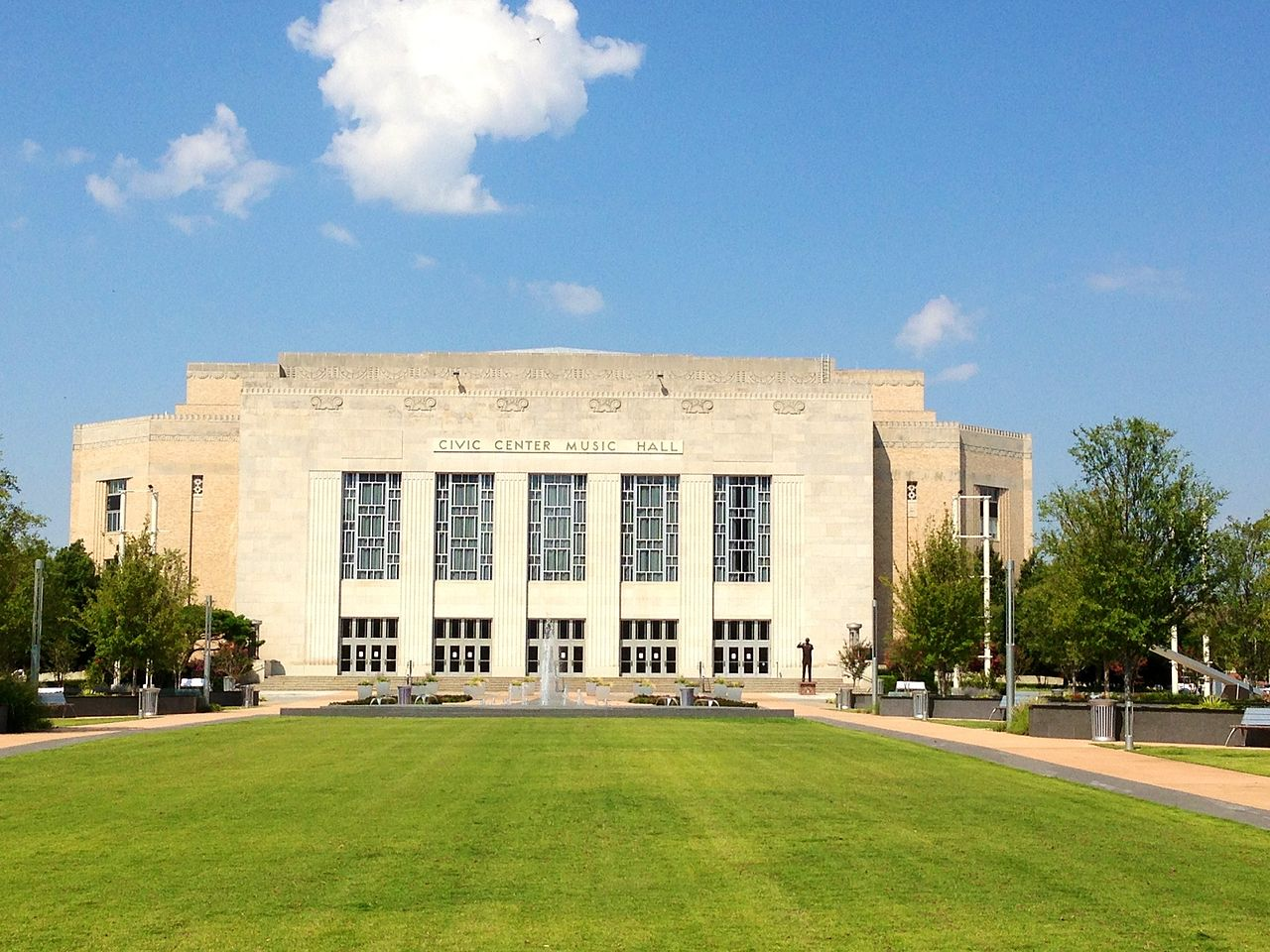 Civic Center Music Hall was built in 1937 and originally called Municipal Auditorium. It is listed on the National Register of Historic Places.