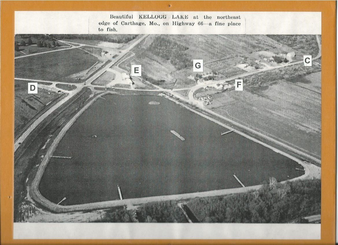 "Kellogg Lake postcard/exhibit mount, c 1955, display in ""Carthage Collects"" temporary exhibit that was also part of the 175th Anniversary of Carthage exhibit in 2017 at the Powers Museum."
