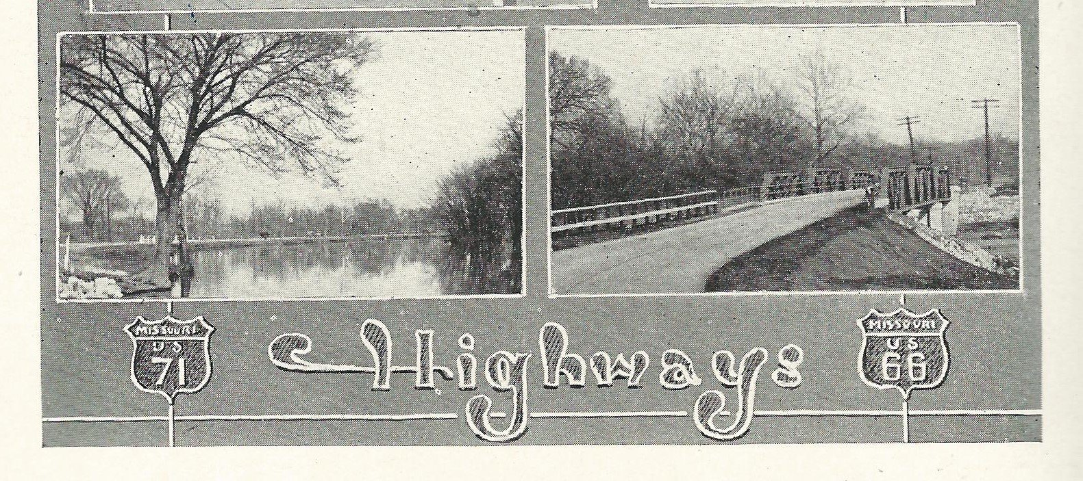 1927 Carthaginian yearbook image showing Spring River and US 66 route through what is now Kellogg Lake Park.