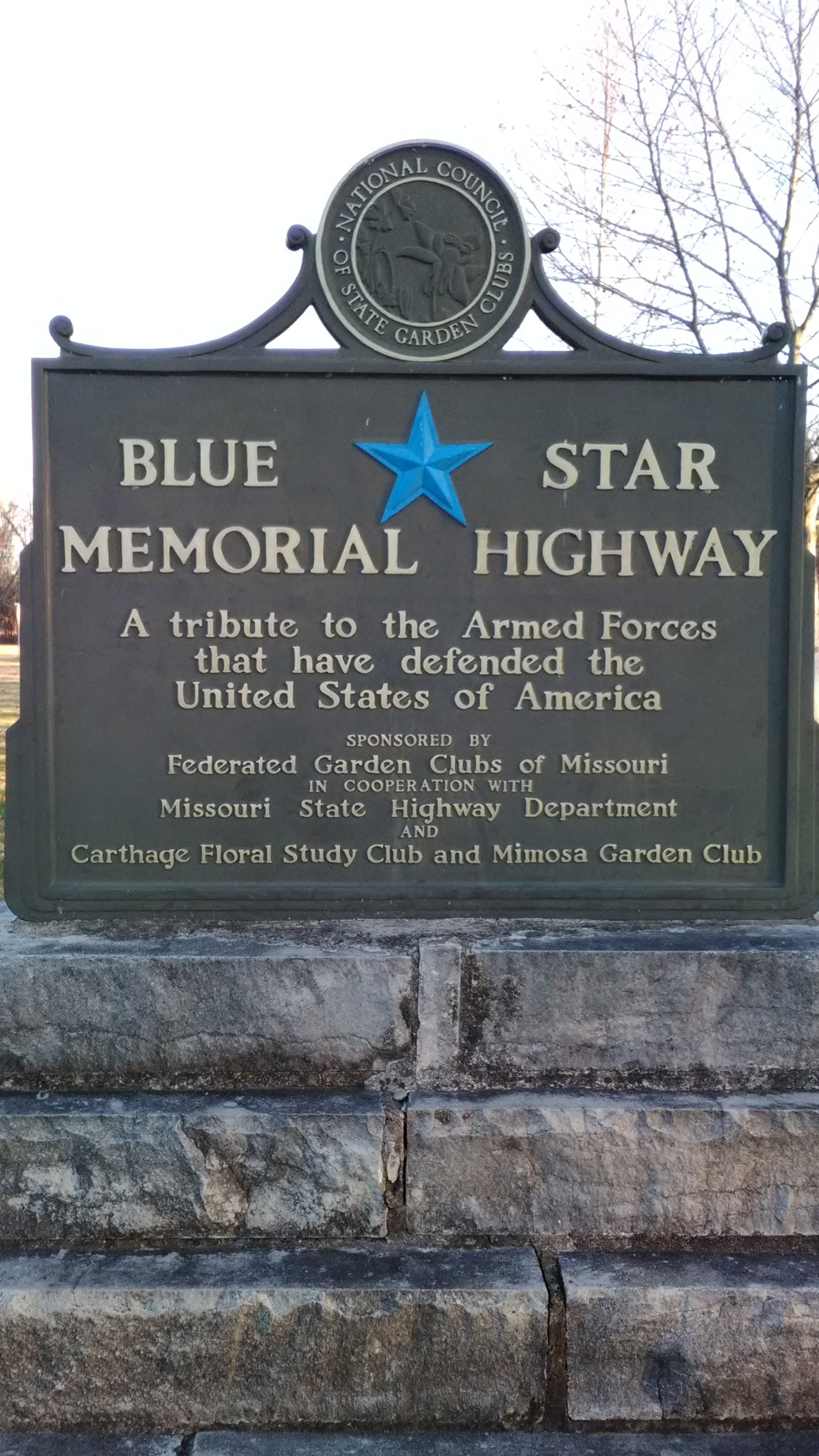 Blue Star Memorial Highway Marker, 2017.