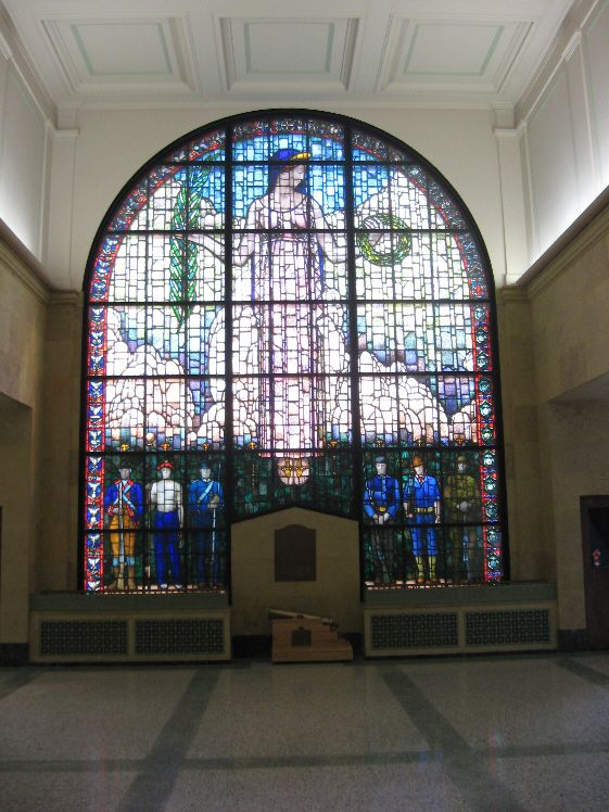 Stained glass window by Grant Wood to commemorate veterans of various wars