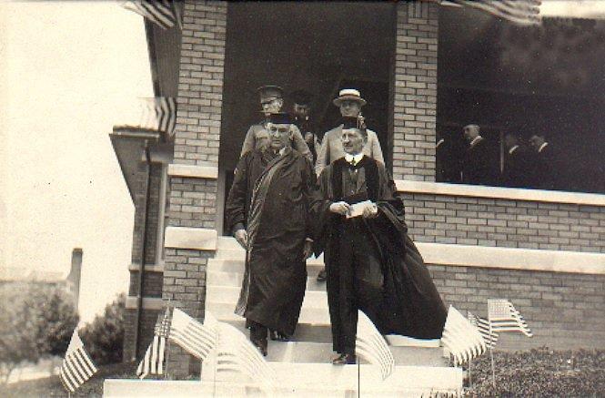 United State's President Warren Harding walking with Muskingum University's President John Knox Montgomery while on his visit to Muskingum.