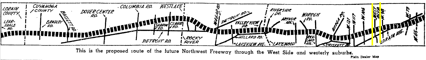 Graphic from the Plain Dealer showing the proposed path of the Northwest Freeway in 1962. West Boulevard is between the yellow lines.