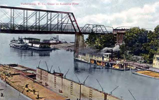 The Parkersburg riverfront in the early 1900s, devoid of protection and subject to frequent devastating floods.