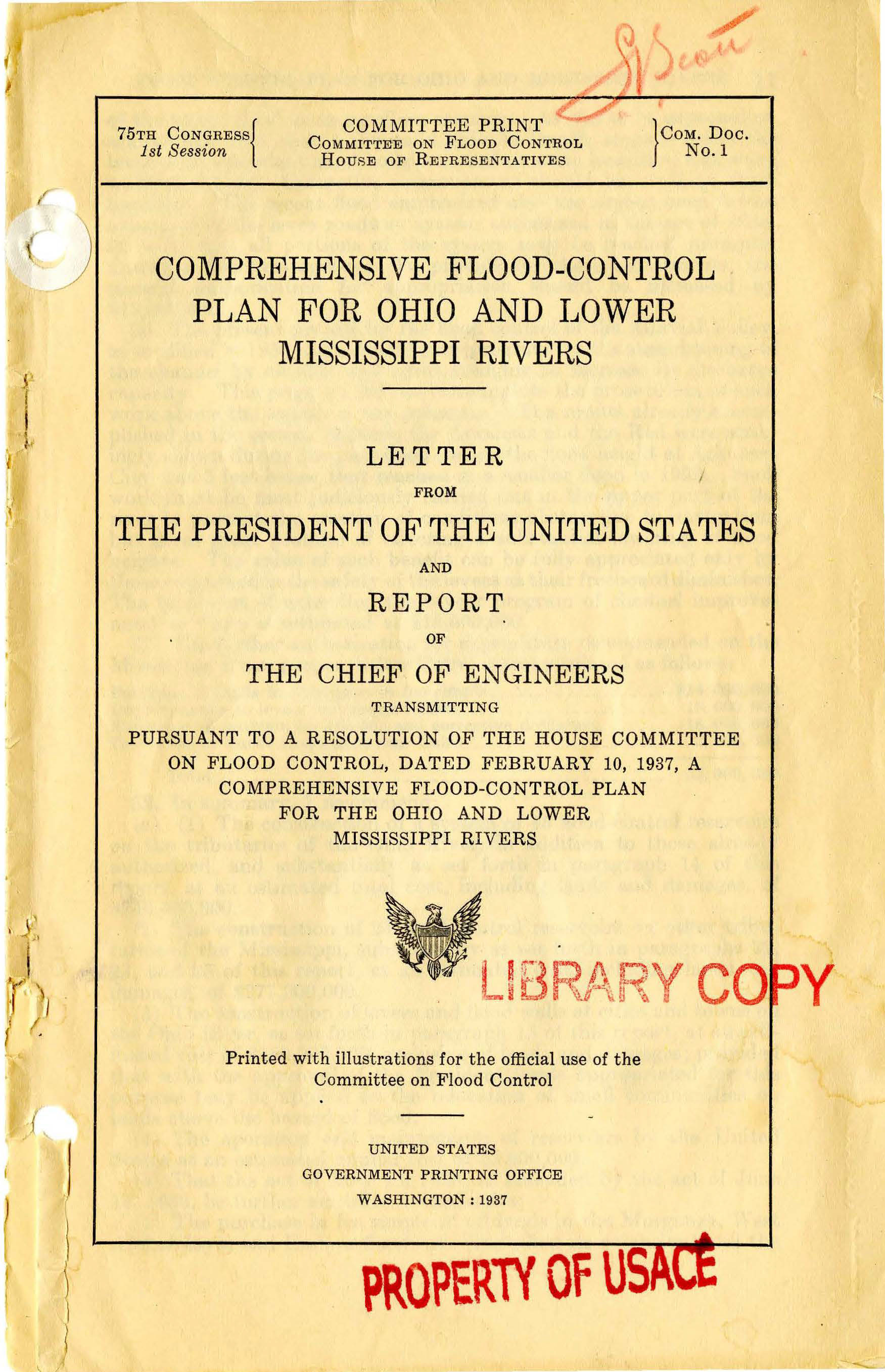 A 1937 report from the U.S. Army Corps of Engineers detailing a comprehensive flood control plan for the region encompassing Parkersburg.