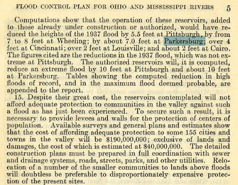 An excerpt from the above report, stating that flood control reservoirs throughout the region are not sufficient to protect Parkersburg, and that additional works will be needed.