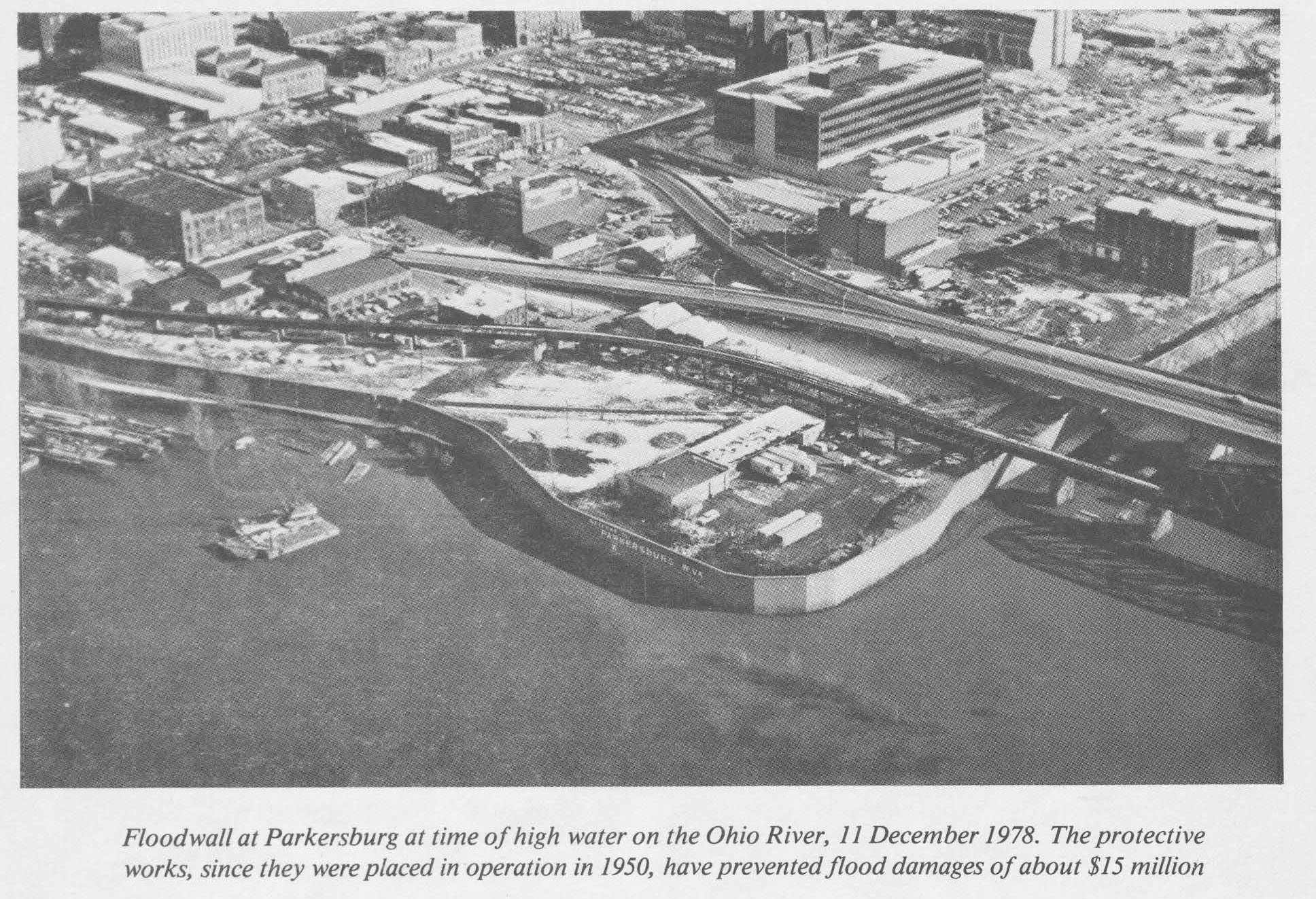 Aerial and caption from a 1979 report of activities in the Ohio Valley by the US Army Corps of Engineers. A later portion of the report states that damage prevented by the floodwall is estimated at over $18 million.