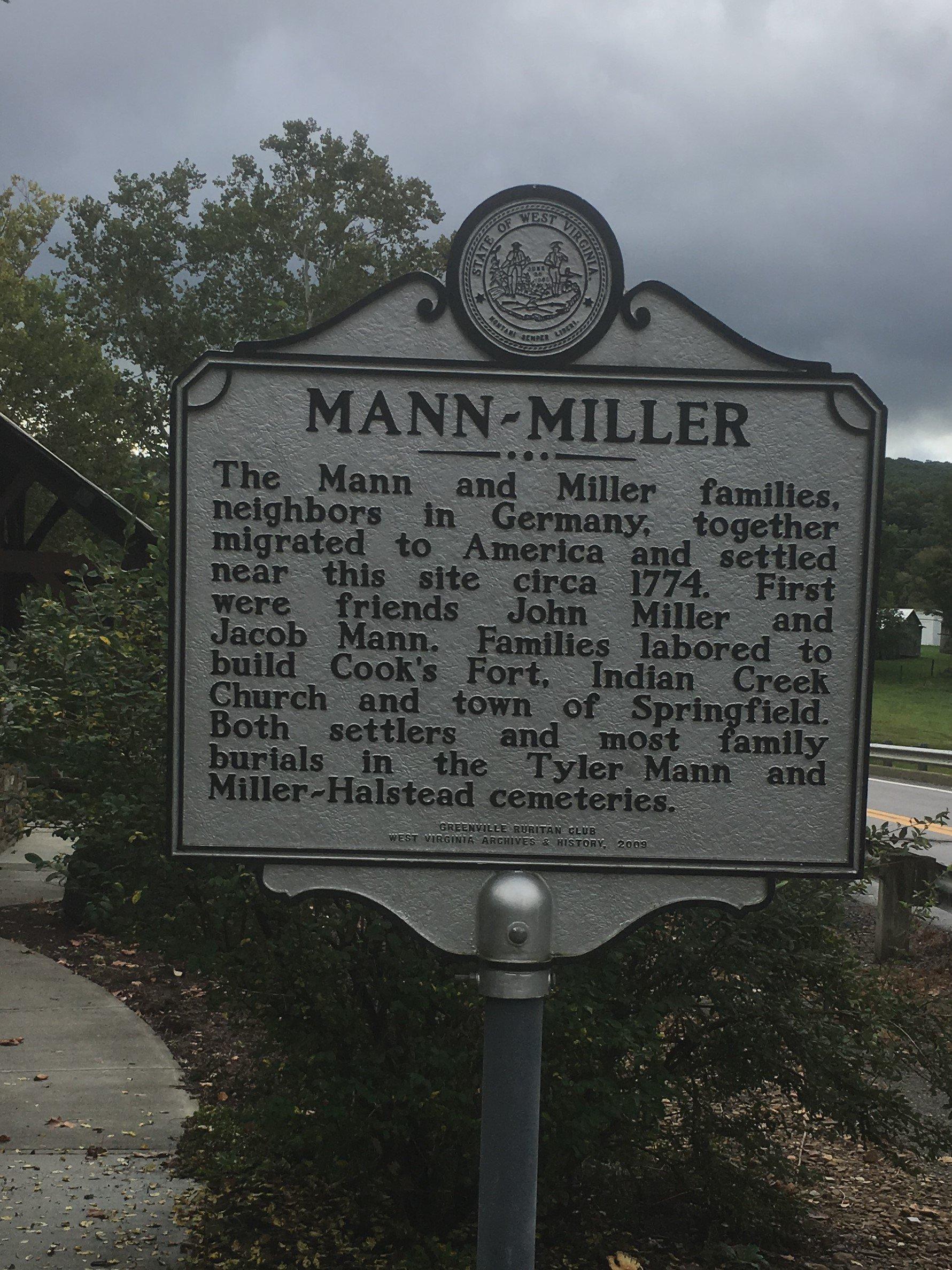 Mann-Miller Historical marker at the Hunter Springs pavilion.