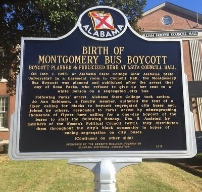 This historical marker was erected in 2015 and emphasizes the role of Jo Ann Robinson in planning the boycott.