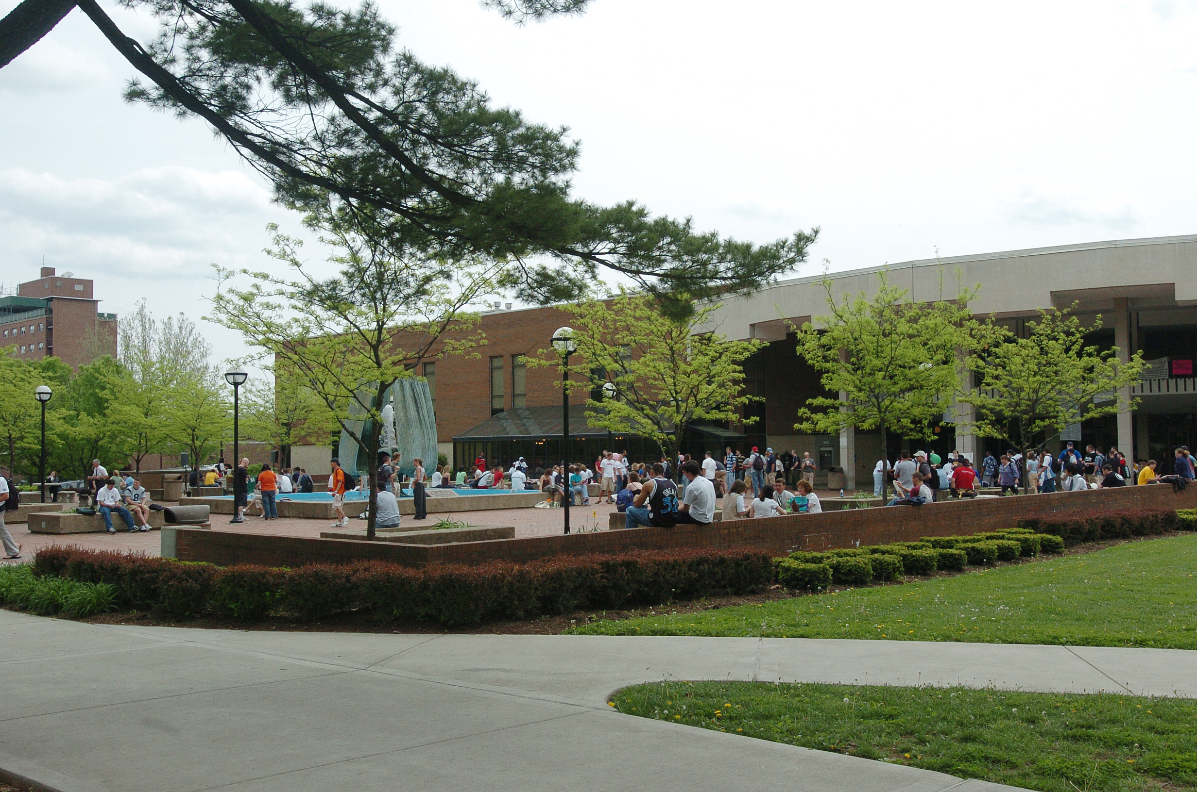 The MSC Plaza, located on the north side, is the heart of campus and the site of the Memorial Fountain.