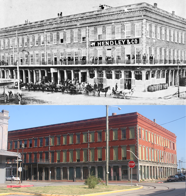 Comparison of the building today and how it appeared a century prior.