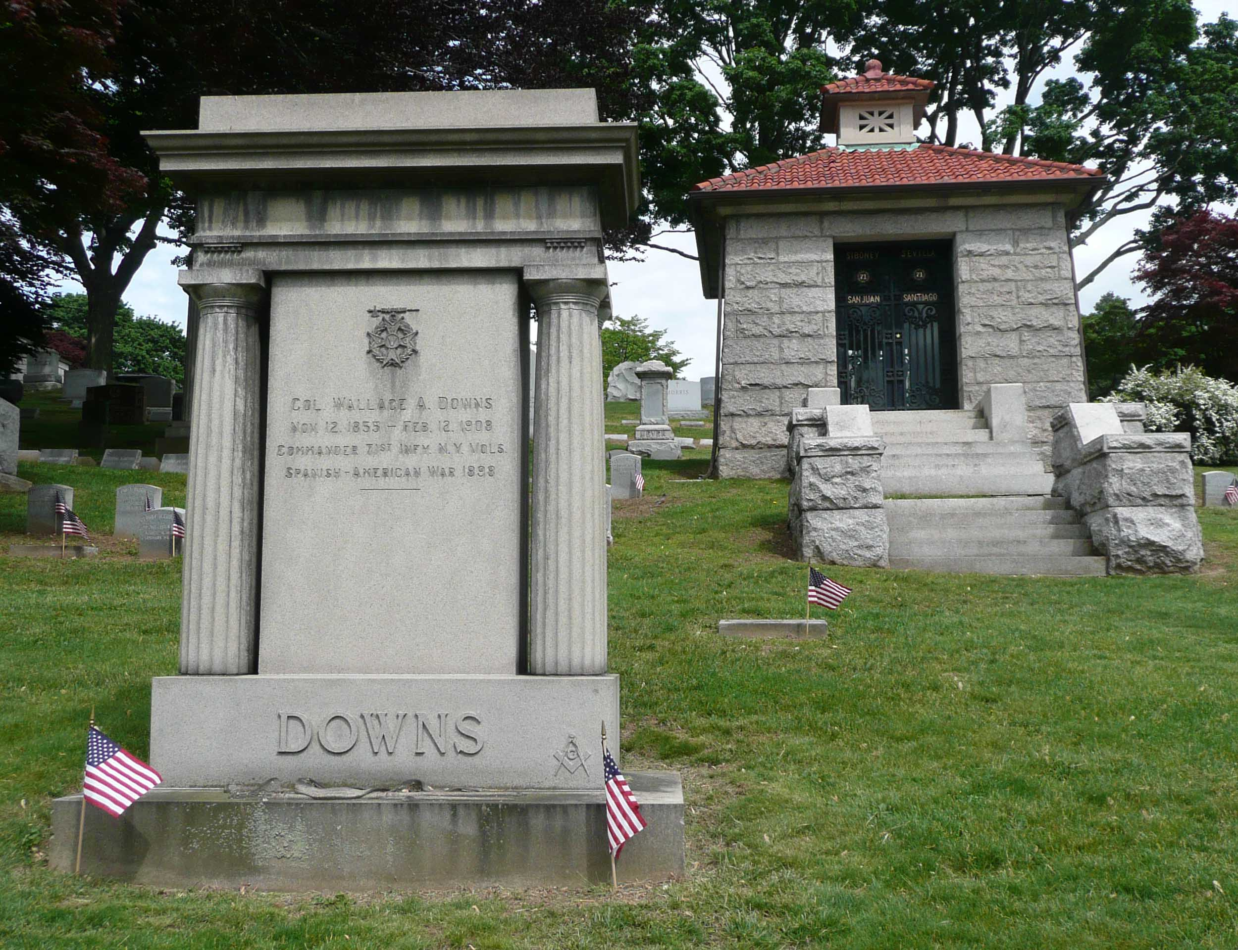 Spanish American War Monument to the 71st Infantry Regiment.  The grave of Colonel Wallace A. Downs, who commanded the regiment during the war, is at left.