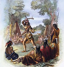An artist's rendition of Chief Pontiac rallying other tribes to support his coalition.