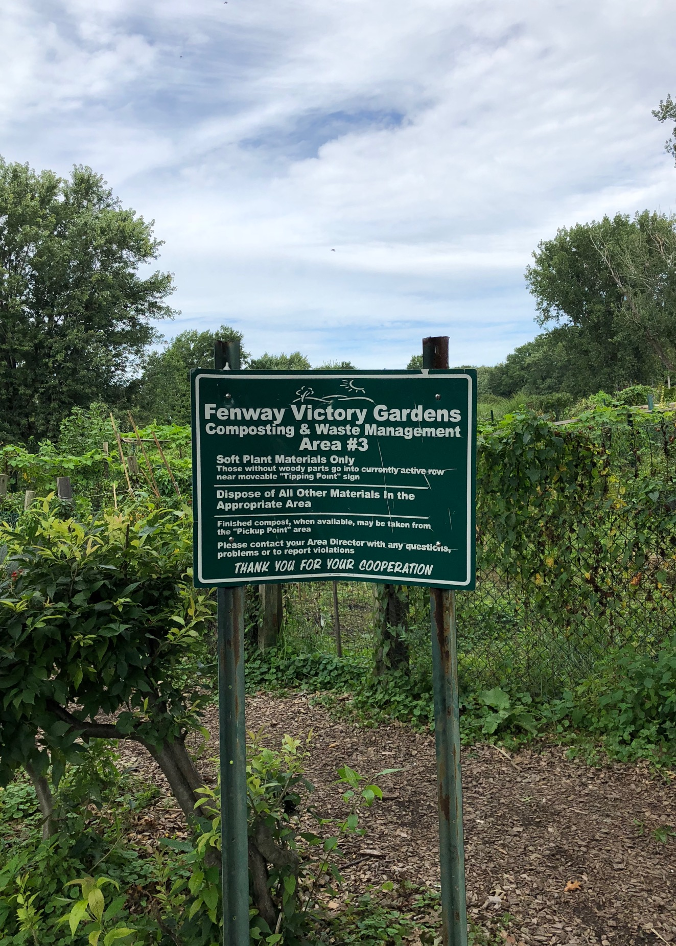 This sign shows some of the uses, policies, and concerns for the garden today. One policy, which prohibits littering, shows that local authorities have struggled in the past with keeping this area clean.