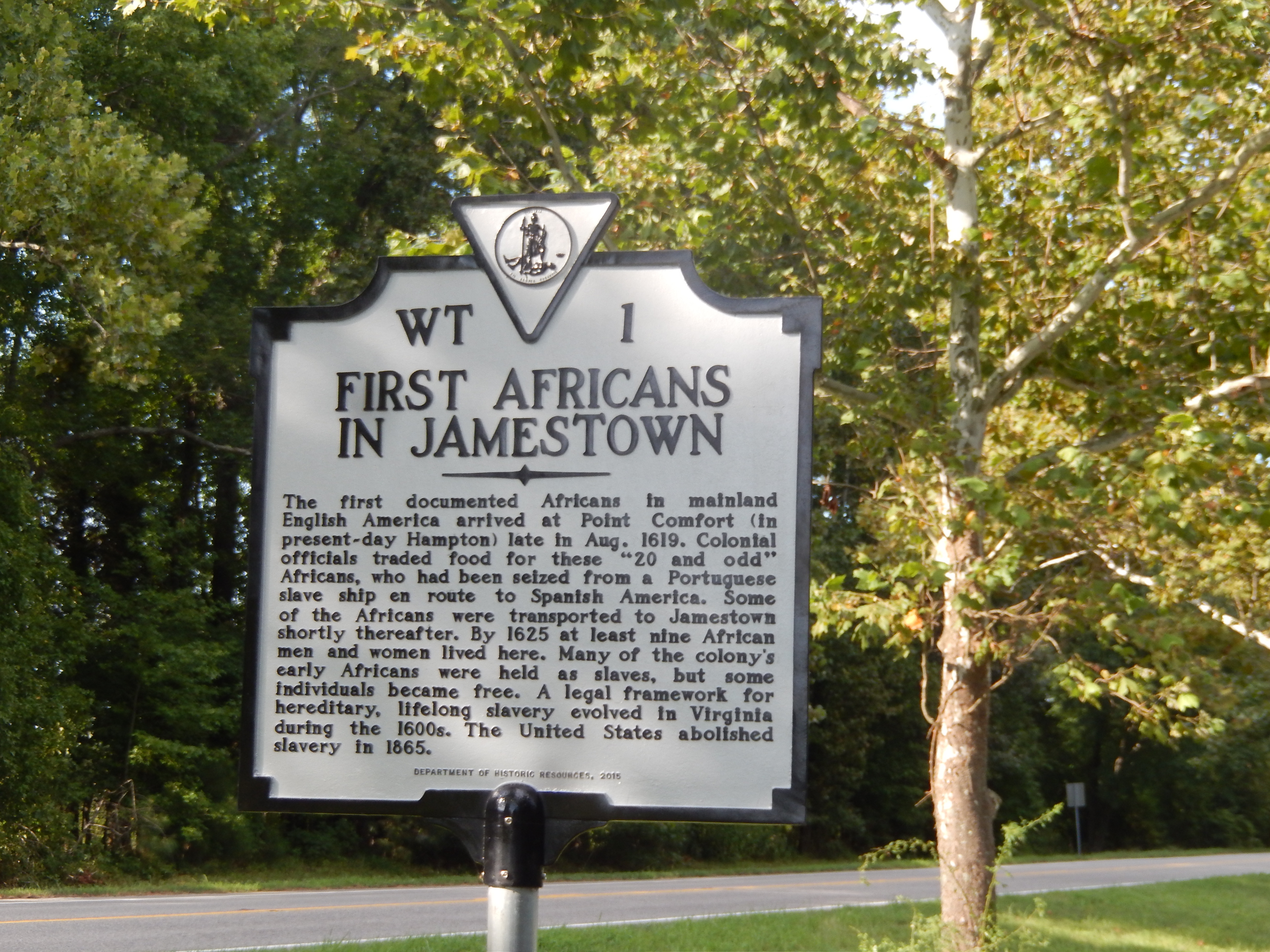 First Africans in Jamestown marker, by Don Morfe on HMDB.org (reproduced under Fair Use)