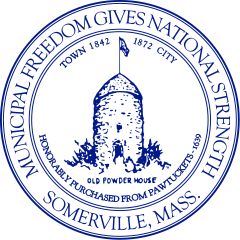 The Seal of the City of Somerville, with the Old Powder House prominently featured. The Powder House replaced George Washington on the city seal for Somerville's centennial as a city, courtesy of Wikimedia user Simtropolitan