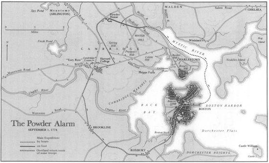 Map of the route British soldiers took in retrieving the King's powder, which also depicts the location of the Old Powder House in the contemporary Boston landscape, from http://blog.amrevpodcast.com/2018/05/episode-046-powder-alarm.html.