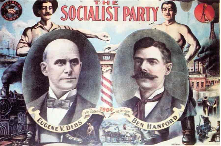 The Socialist Party's 1904 presidential ticket featuring labor leader Eugene V. Debs.