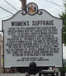 Overlea, MD marker of the Women's Suffrage movement stop.