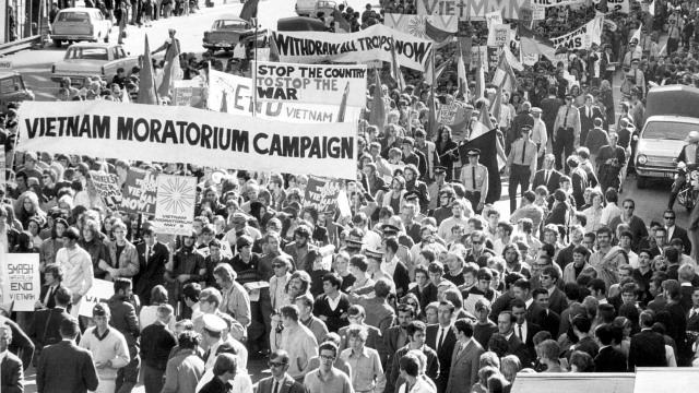 Protesters at the Moratorium to End the War in Vietnm, on November 15, 1969.