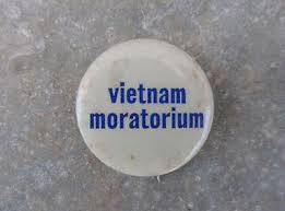 A pin worn by protesters for the Vietnam Moratorium