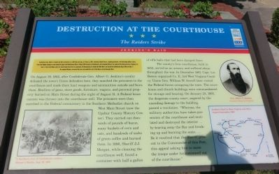 The marker giving detailed description of the raid at the courthouse.