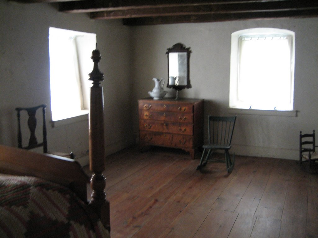 One of the modestly furnished bedrooms within the Troxell-Steckel House.