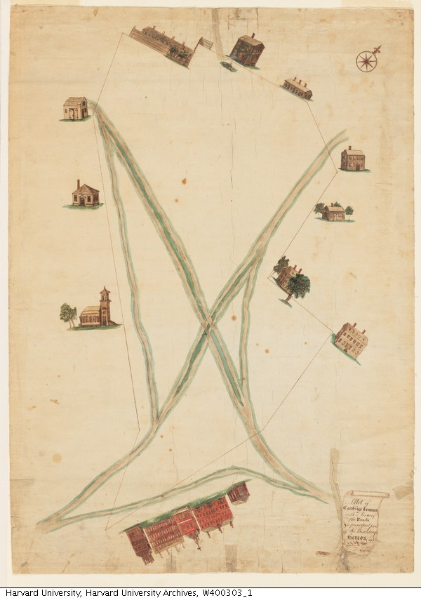Produced in 1781, this map of the Cambridge Common and the area surrounding it exemplifies how the park has served as a crossroads for travelers in Cambridge, as the main detail present is the park's paths. Source: HVD - Images (used with permission)