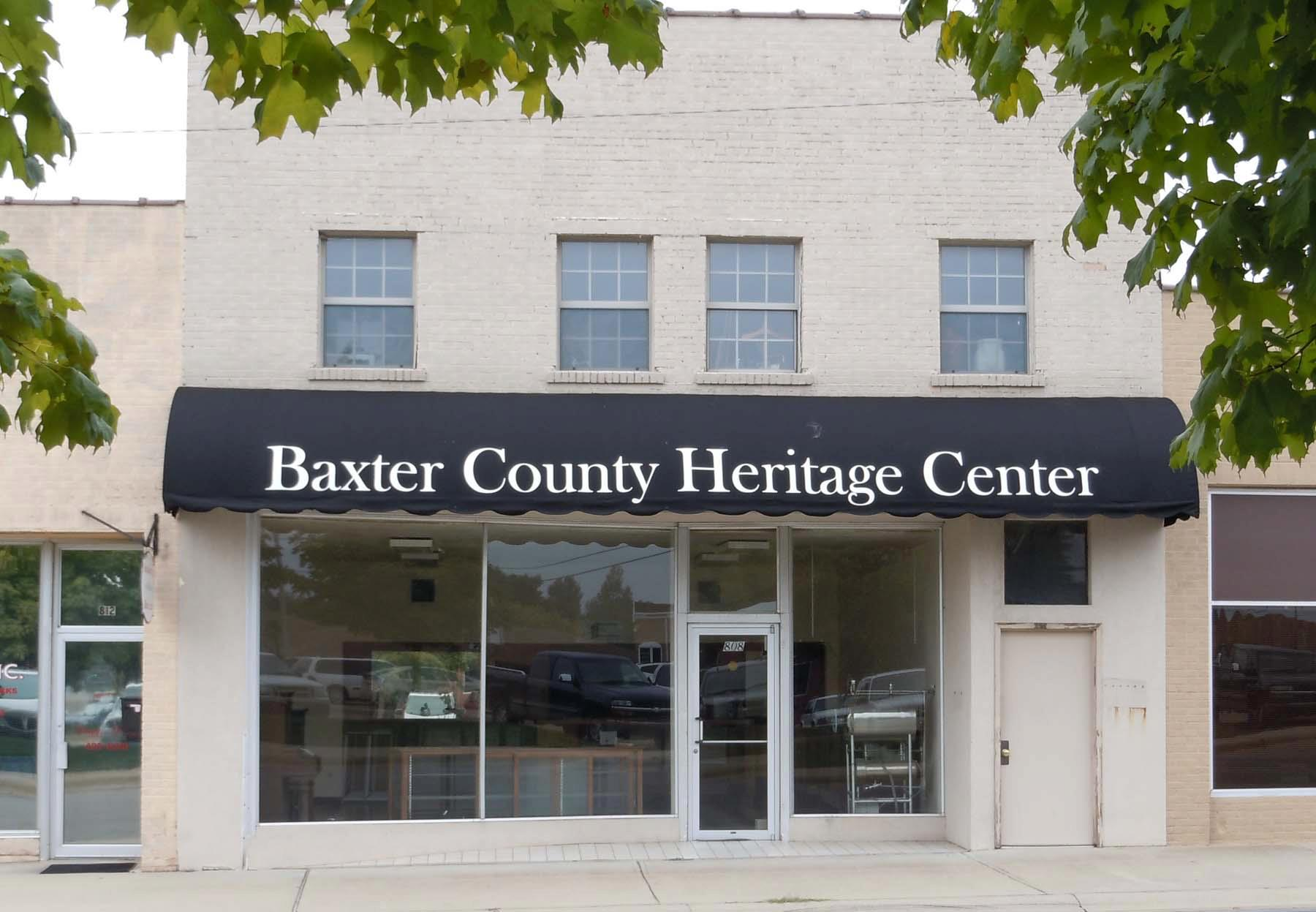 The Heritage Center is the headquarters for the Baxter County Historical and Genealogical Society. It contains historical material related to the county's history.