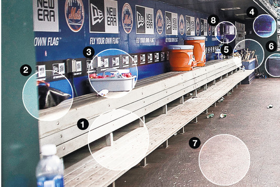 This shows the very specific condition the Mets keep their dugout in, in an attempt to negate any bad luck