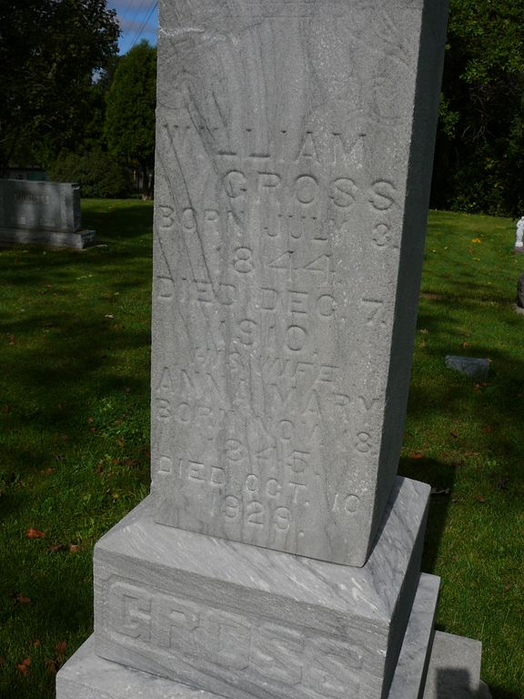 The grave of John's Grandfather, William Gross, at Saint Anthony Catholic Church in Menomonee Falls, Wisconsin.