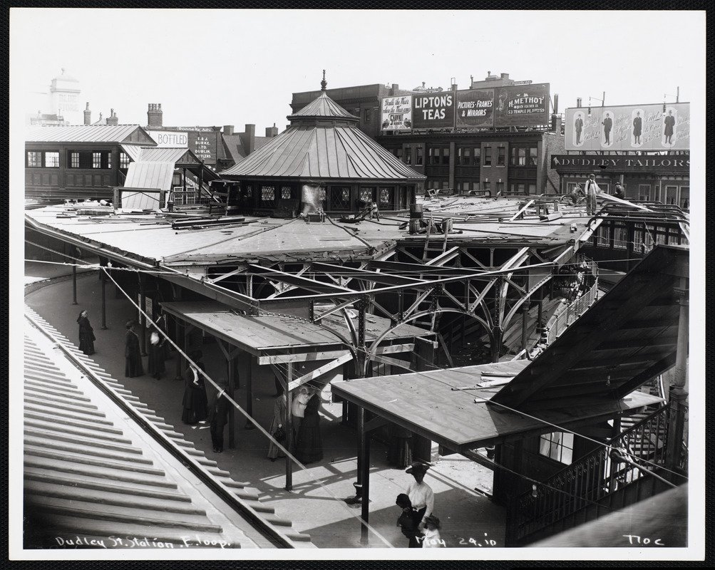 """Historical photograph of Dudley Street Station, east loop and platform. Photograph taken May 24, 1910 but photographer is unknown.  Part of the """"Arts in Transit"""" collection at the Boston Public Library.  Courtesy Creative Commons."""