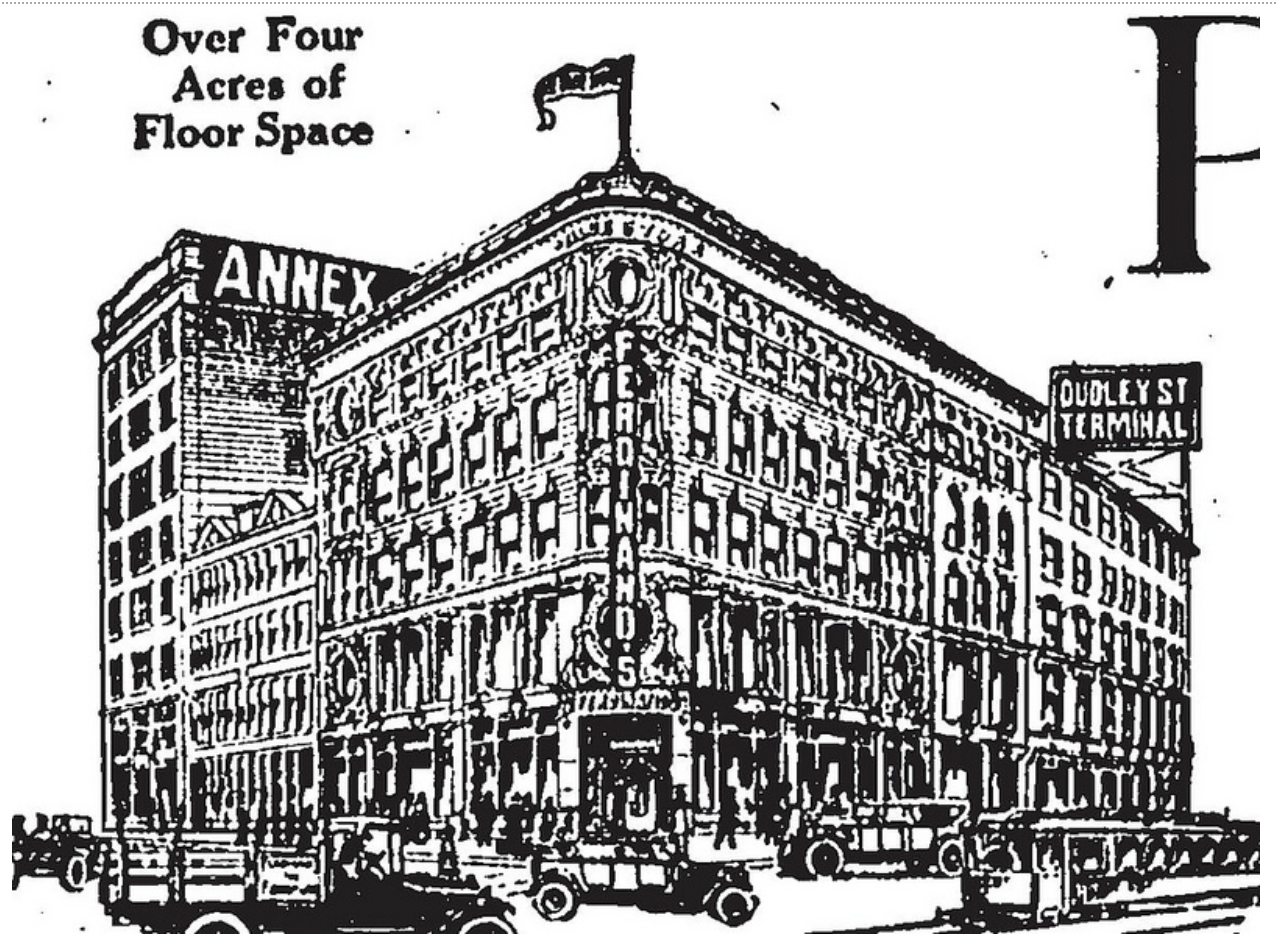 1920s drawing of Ferdinand's Blue Store and its annex.  Note the sign that reads 'Dudley St Terminal' and the one reading 'Annex' which connected the station and the store.  Exact origins unknown but Courtesy Creative Commons.