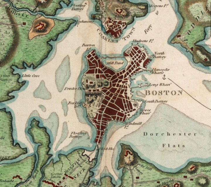 "Map depicting the Boston area before the 19th century landfill projects. The East Side of the ""Boston Neck"" was filled to make way for South End. Source: R. Phillips - Boston Public Library, Norman B. Leventhal Map Center."