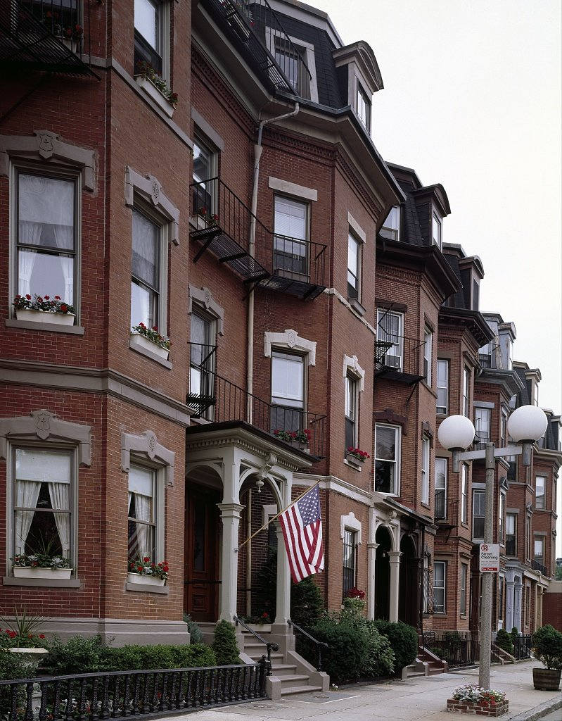 South End today. The famous Victorian rowhouses prompted national acknowledgement of South End as a National Register Historic District in 1973. Source: https://picryl.com/media/bowfront-buildings-on-warren-street-in-south-end-boston-massachusetts