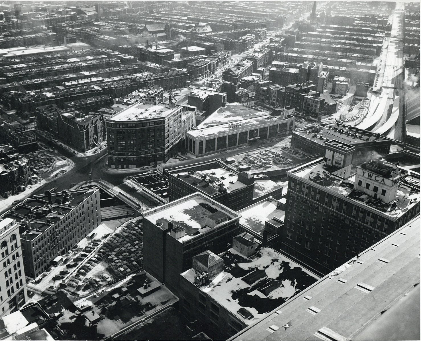 1959 view of the South End from the John Hancock Tower in Back Bay. Source: https://commons.wikimedia.org/wiki/File:South_End_from_old_John_Hancock_Building,_February_1959.jpg