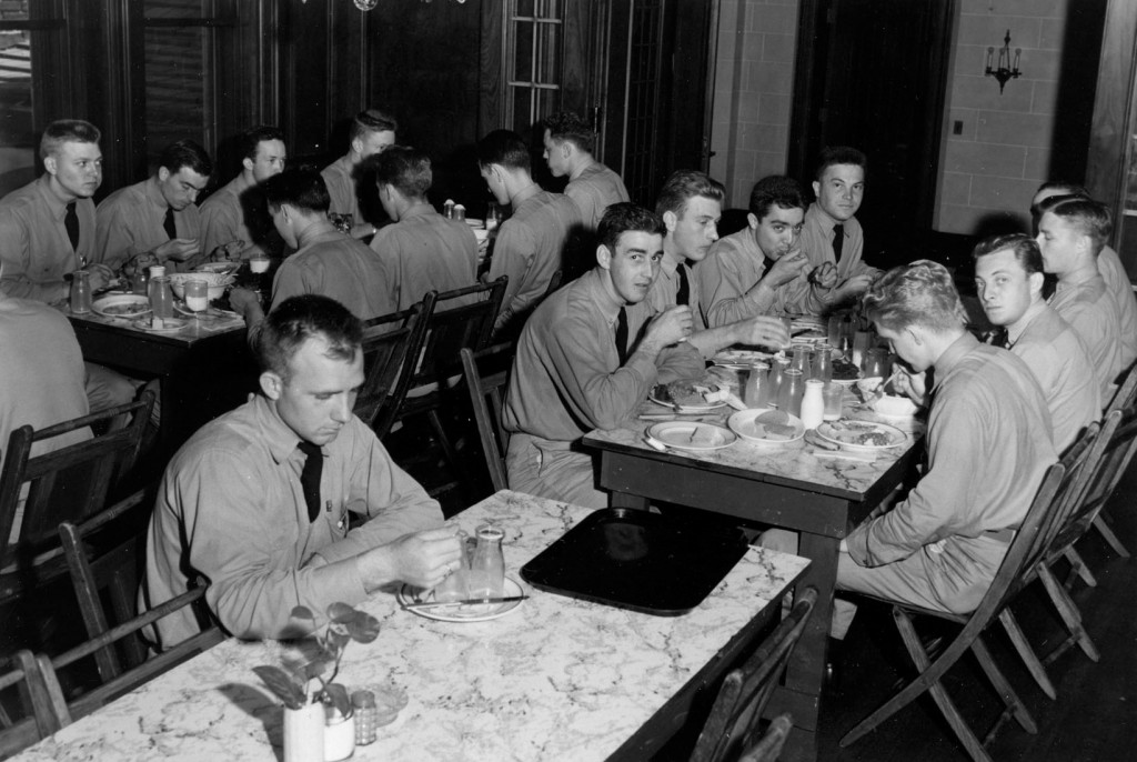 Aviation cadets inside the home in 1942