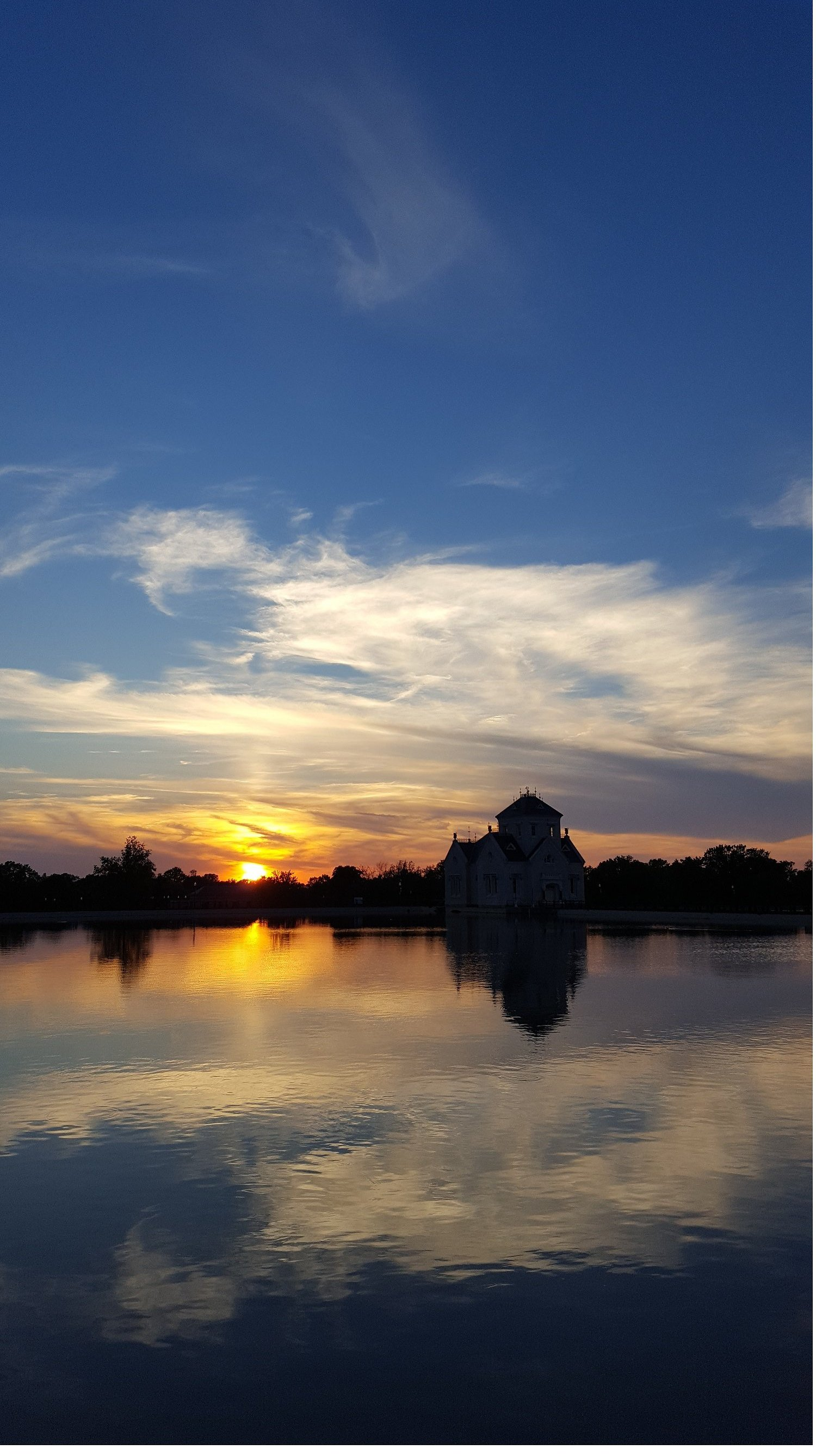 Reservoir and gatehouse at sunset. Photo by me.