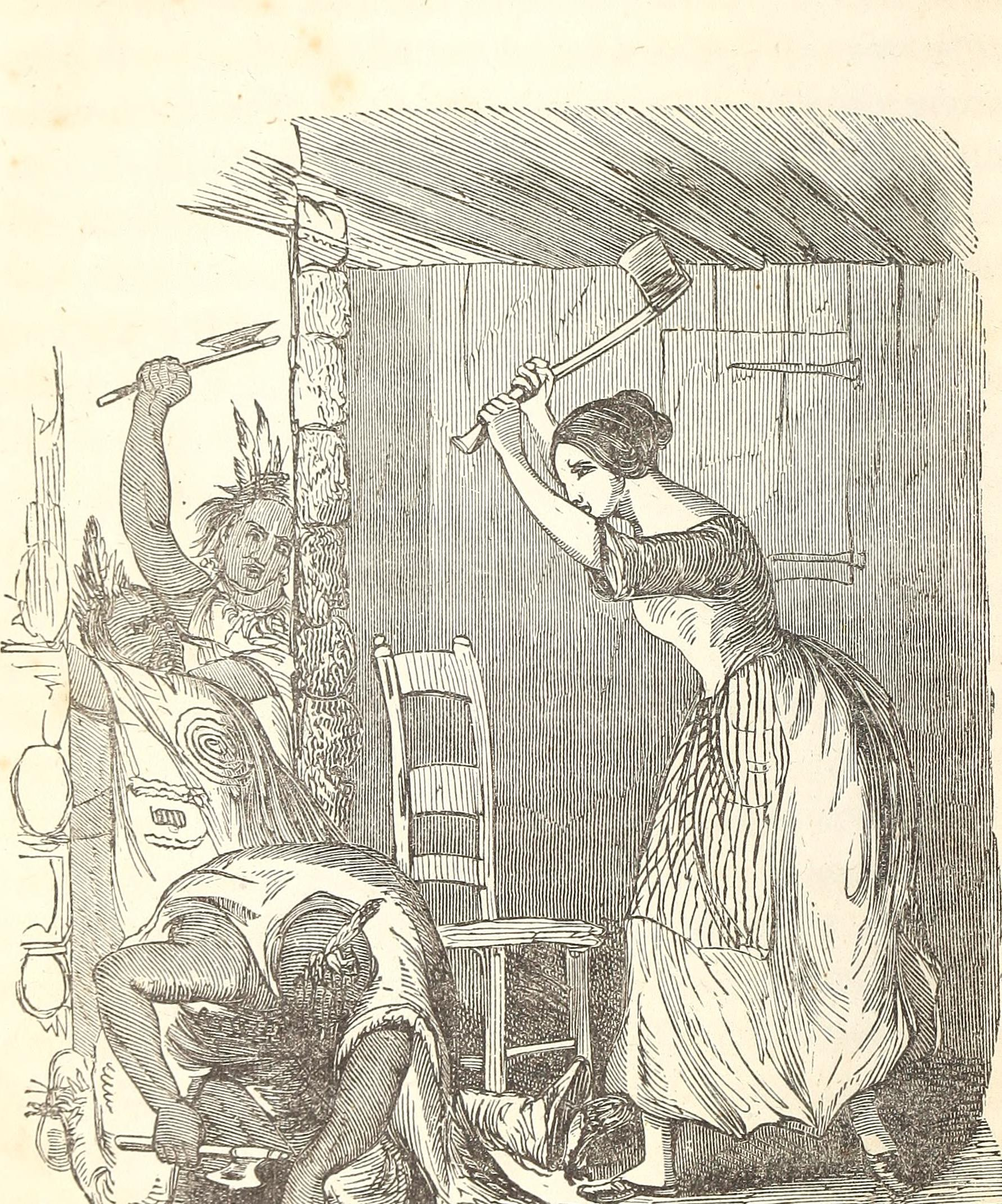 "This image depicts Mrs. Bozarth defending her cabin. Most commonly called Elizabeth, some sources refer to her as ""Ann"" or ""Experience"" Bozarth."