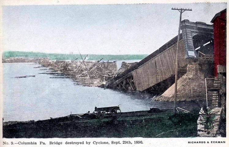 The third bridge, constructed in 1968 by the Pennsylvania Railroad Company, was destroyed by flooding form the devastating Cedar Keys Hurricane. The hurricane caused widespread flooding in the region. Pictured is the submerged remains of the bridge.