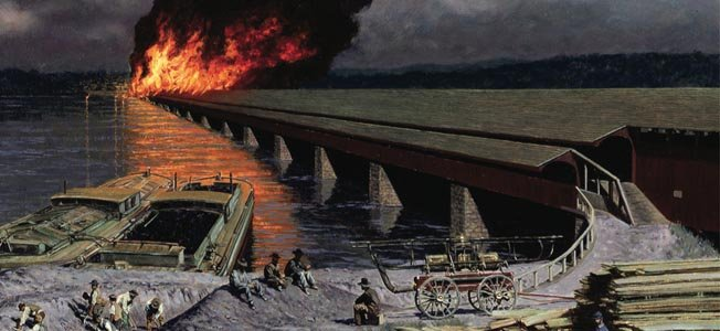 "After a series of controlled explosions failed to bring down the bridge, Union troops lit the bridge ablaze. The resulting fire engulfed the mile long oak wood structure, illuminating the night sky in a ""red glow' visible up to thirty miles away."