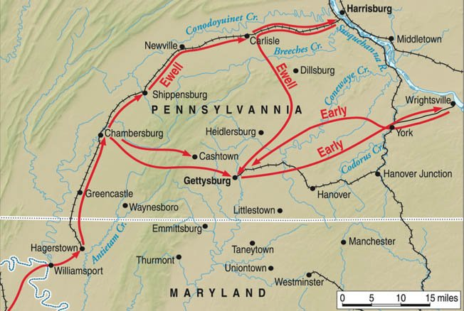 "Widely considered the Unions ""darkest moment"", Confederates planned to march into Pennsylvania, securing two key river crossings before advancing into the heart of the North. Instead, the Rebels retreated to Gettysburg, where Union forces await."