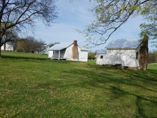 Restored slave cabins at Clover Bottom. c. 1858. Credit: Carver Moore, 2017