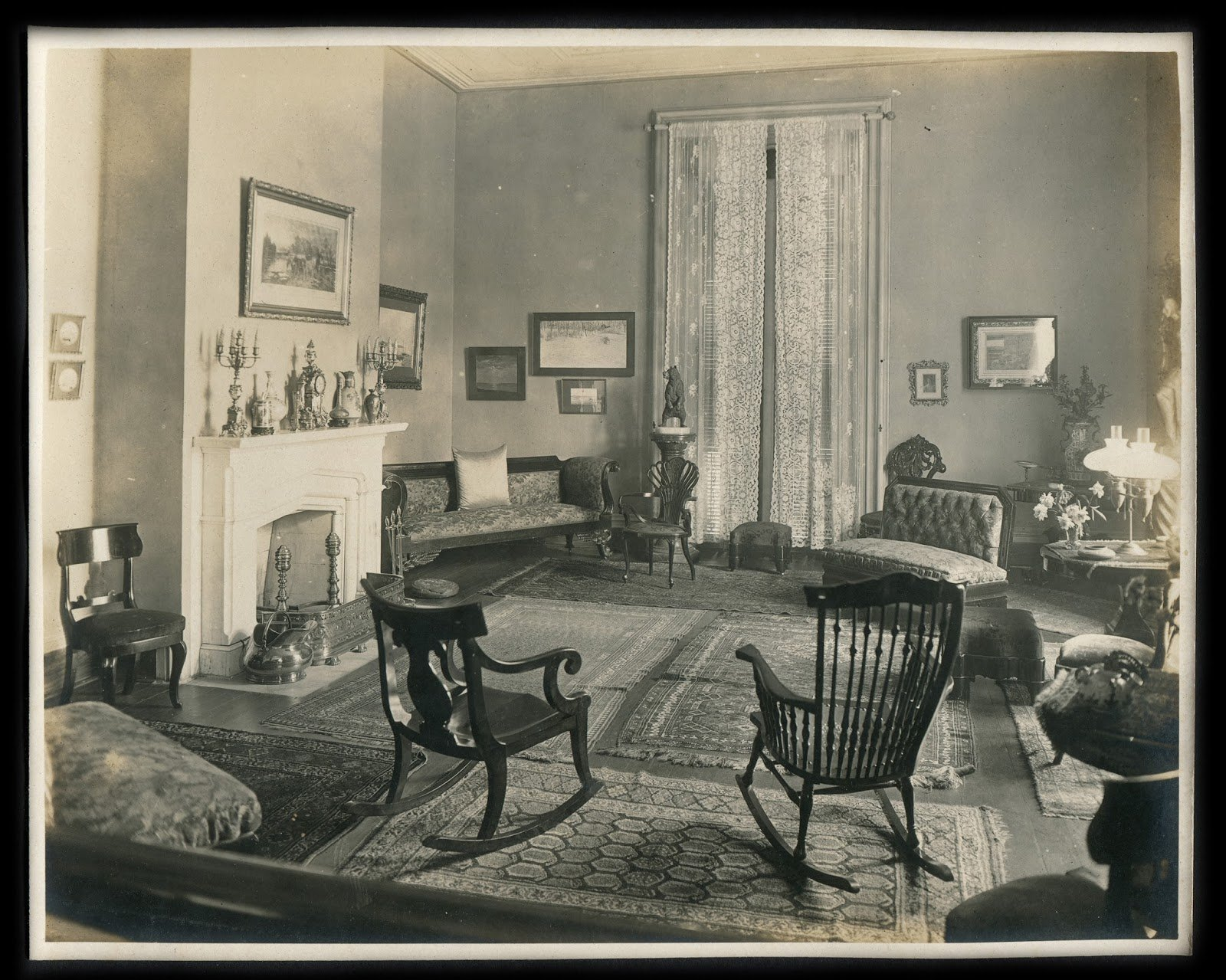 Parlor at Clover Bottom Mansion, Donelson, Tenn., 1918 May 14. Price-Gay Family Papers, 1822-1944, Box 18, Folder 5. Credit: Tennessee State Library and Archives