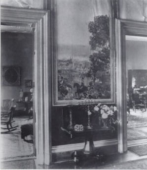 The hallway walls were covered in a scenic wallpaper which was manufactured by Zuber in France in 1838. Credit: Nashville Interiors