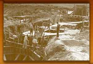 Construction of the dam that would form into a lake at Herrington Manor; taken in 1934 when the Civilian Conservation Corps began conducting projects at Herrington Manor, photo courtesy of Maryland Department of Natural Resources