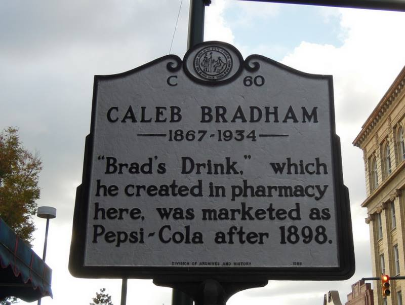 This sign is to honor Caleb Bradham and his invention of Pepsi.