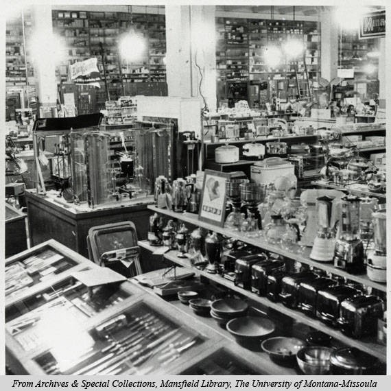 An interior shot of the Missoula Mercantiles kitchen department circa 1950's. Not the abundance of products on display. The Mercantile was known for having everything a customer wanted, and if they didn't have it would gladly order the product, if not several more. Image courtesy of mtmemory.org