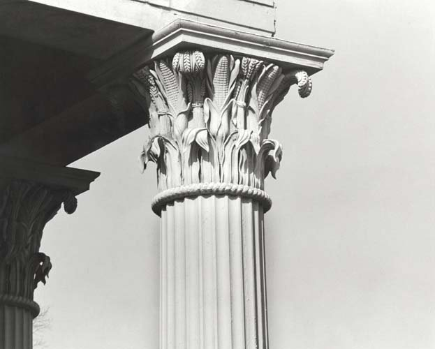 The detail on the columns on the facade of the Playmakers Theater.