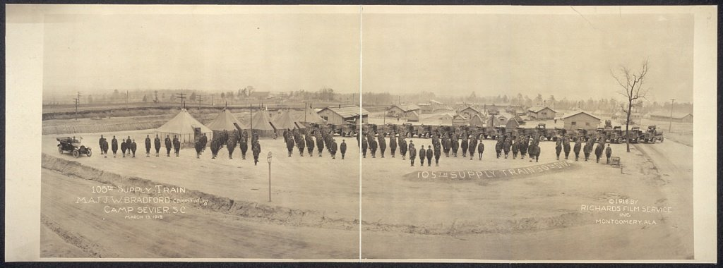 105th Supply Train, Maj. J.W. Bradford commanding, Camp Sevier, S.C., March 13, 1918